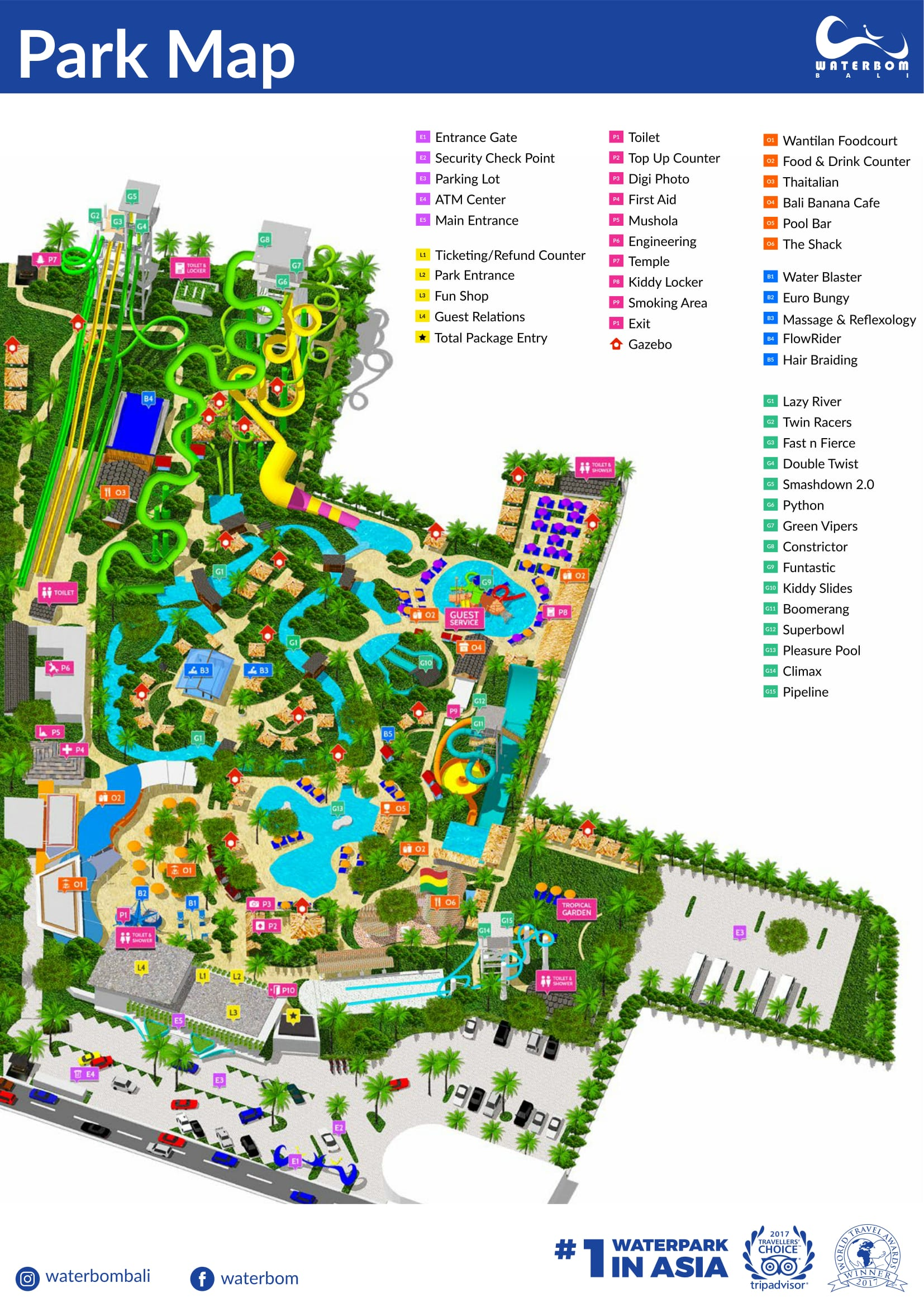 Waterbom Bali Gazebo Map General Landing Speed Slide